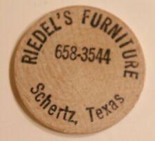 Vintage Riedel's Furniture Wooden Nickel Schertz Texas