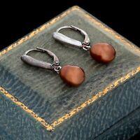 Vintage Designer 925 Sterling Silver Red Tahitian Peacock Pearl Dangle Earrings