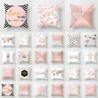 Rose Gold Pillow Case Geometric Throw Waist Cushion Covers Bed Sofa Home Decor