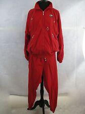 Womens 80s 90s Vintage Tracksuit Windbreaker Nylon Jacket Pants Set Red Petite
