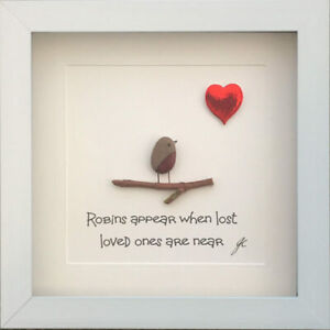 Personalised Pebble Art Picture Sympathy Robins Appear When Loved Ones Are Near