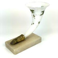 Antique Opalescent Glass Bird Painted Cornucopia Vase Gilt Bronze Hand Onyx Base