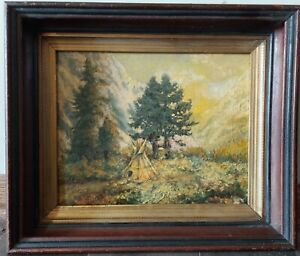 1899 AB SIGNED Original Oil on Canvas Board Painting Native American Teepee NICE