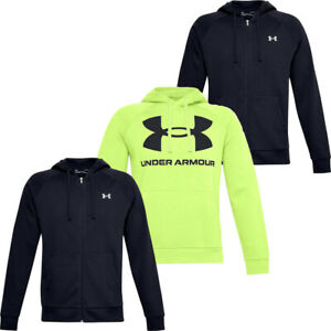 Under Armour Mens Hoodie Hoody Full Zip Sweatshirt Rival Fleece Winter Top Black