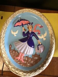 Mary Poppins Walt Disney Vintage 1970's Handpainted Ceramic Oval Wall Plaque