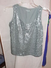 Woman's Green Sequined Sleeveless Blouse/Knit Top/Tank from Caslon Size S