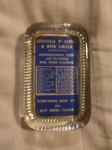 Vintage - Company Office Desk Perpetual Calendar - Advertising Glass Paperweight