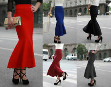 Stretch Knit Hand-wash Only Solid Skirts for Women