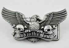 Cool Mens Boys American Bad to the Bone Eagle Fly Wing Skull Metal Belt Buckle