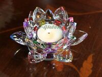 CRYSTAL CUT MULTI COLOURED T-LIGHT LOTUS CANDLE HOLDER MOTHER'S DAY GIFT BOX