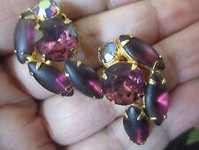 Clip On Earrings Amethyst FROSTED W/ A/B  Purple Rhinestone Crystal-90