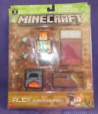 NEW Minecraft Alex 2.75' Figure Survival Pack Bed Axe Shovel Chest Torch Furnace