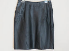 Genuine Leather skirt 12 M L Solid Black Knee-Length straight Sexy Career Club