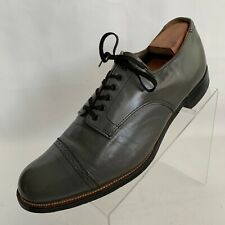 Stacy Adams Madison Oxford Cap Toe Brogue Gray Leather Lace Up Shoes Size 10/2E