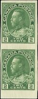 Mint H Canada 1924 Pair 1c Coil F+ Scott #137 King George V Admiral Stamps