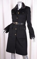 GUCCI Womens Classic Black Wool+Cashmere Belted Long-Sleeve Coat Jacket 42/6 S