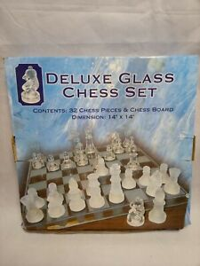 "Deluxe Glass Chess Set 14"" x 14"" NIB"