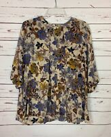 Umgee USA Boutique Women's M Medium Floral 3/4 Sleeves Spring Top Blouse Shirt