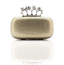 Gold Sequin Diamante Rhinestone Clip Knuckle Evening Hard Clutch Handbag Bag