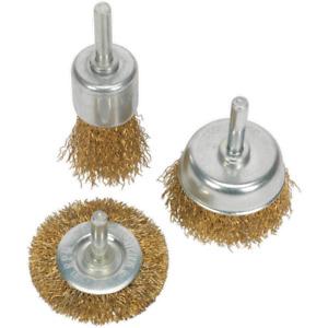 Sealey 3 Piece Brassed Wire Brush Set