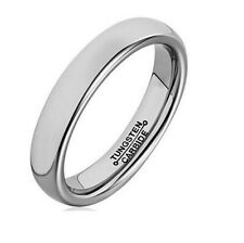 4mm 6mm Men's Tungsten Ring Classic Silver Wedding Band Engagement
