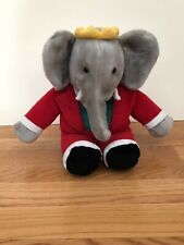 """BABAR the ELEPHANT 14"""" Vintage GUND Plush Doll 1988 Red Suit Yellow Crown EUC"""