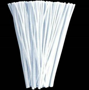 White Chenille stems Sticks Puzzle Craft Children Pipe Cleaner E cleaners UK New
