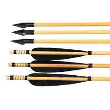 "6pcs 32"" Archery Wood Arrows Turkey Feather Metal Broadhead Recurve Bow Longbow"