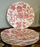 "Vintage JOHNSON BROS ENGLISH CHIPPENDALE Red/Pink - 10"" DINNER PLATE"