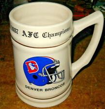 Rare Vintage 1987 Denver Broncos Super Bowl Xxii Ceramic Stein Afc Champions