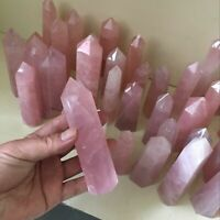 Wholesale 50-60mm Natural Rock Pink Rose Quartz Crystal Wand Point Healing Stone