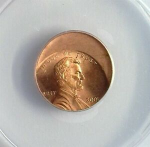 2001 LINCOLN CENT ANACS MS 64 RED STRUCK 30% OFF CENTER AT K-7:00