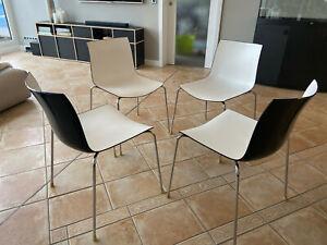 4 x Stuhl Arper Catifa 46 Vierbein - Lievore Altherr Molina bicolor schwarz-weiß