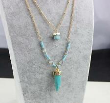 18K Gold Plated Turquoise Quartz Crystal Bead Multi Layer Layered Necklace