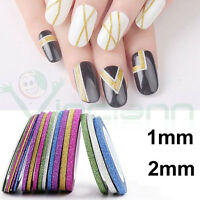 6 rotoli strisce righe decorazione unghie glitter striping striped nail art
