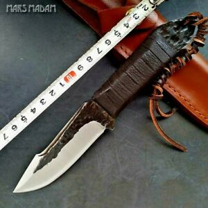 Drop Point Knife Hunting Survival Tactical Combat Hammered Steel Leather Handle