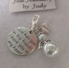 Baby Memorial Charm -God has you in his hands I have you in my heart *baby loss