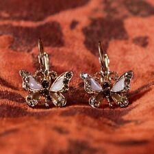 Boucles d'Oreilles Dormeuse Papillon Cristal Classique Soirée Mariage FF 1
