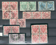 AUSTRIA BOSNIA II plate pairs strip and block of four USED  NOTE 25kr PAIR R