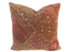 """Superb Custom Made Vtg Patchwork Pillow India 16"""" W"""