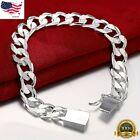 925 Sterling Silver Womens Stylish Wide 10mm Bold Chain Link Bracelet D481