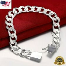 925 Sterling Silver Womens Stylish Wide 10mm Bold Chain Link Bracelet D481