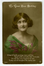 1910s Vintage Glamor Beauty PRETTY YOUNG LADY Glamour photo postcard