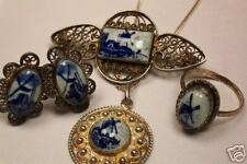 Pin Ring Earring + Vintage Sterling Silver Delft Parure