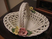 Beautiful Vintage Capodimonte Oval Basket Pink & Yellow Roses