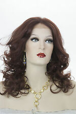 Dark Auburn Red Long Medium Lace Front Hand Tied Wavy Curly Straight Wigs