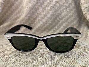 Vintage Ray Ban Wayfarer Sunglasses, 5022 B & L, Black with Pearl White, 1980s