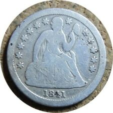elf Seated Liberty Dime 1841  Drapery at Elbow