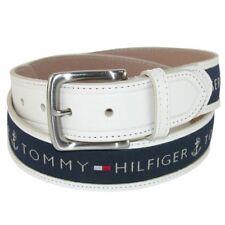 New Tommy Hilfiger Men's Ribbon Inlay Brown Leather Navy Khaki Cotton Belt