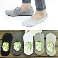 10Pairs Men Durable Bamboo Fiber Loafer Boat Liner Low Cut No Show Nonslip Socks